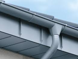close up silver grey metal guttering